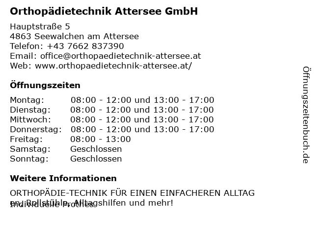 Orthopädietechnik Attersee GmbH in Seewalchen am Attersee: Adresse und Öffnungszeiten