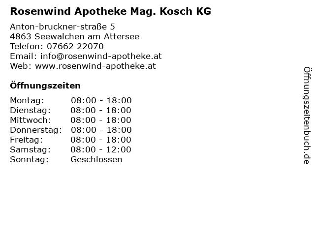 Rosenwind Apotheke Mag. pharm. Reinhard Kosch in Seewalchen am Attersee: Adresse und Öffnungszeiten