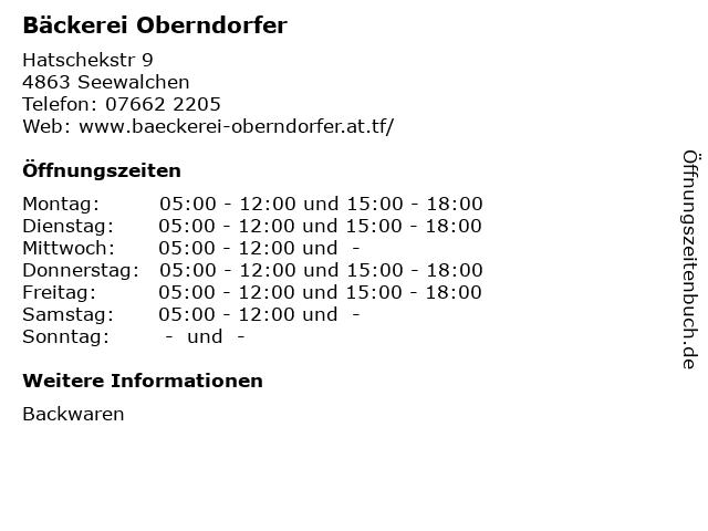 Bäckerei Oberndorfer in Seewalchen: Adresse und Öffnungszeiten