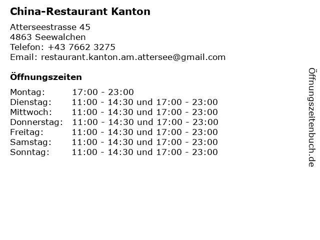 China-Restaurant Kanton in Seewalchen: Adresse und Öffnungszeiten