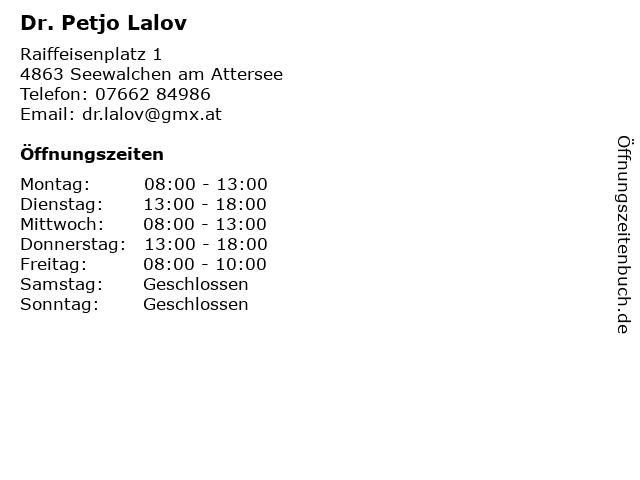 Dr. Petjo Lalov in Seewalchen: Adresse und Öffnungszeiten