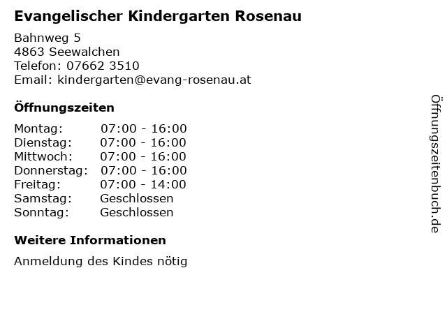 Evangelischer Kindergarten Rosenau in Seewalchen: Adresse und Öffnungszeiten