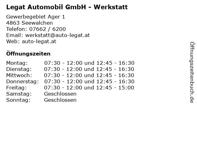 Legat Automobil GmbH - Werkstatt in Seewalchen: Adresse und Öffnungszeiten