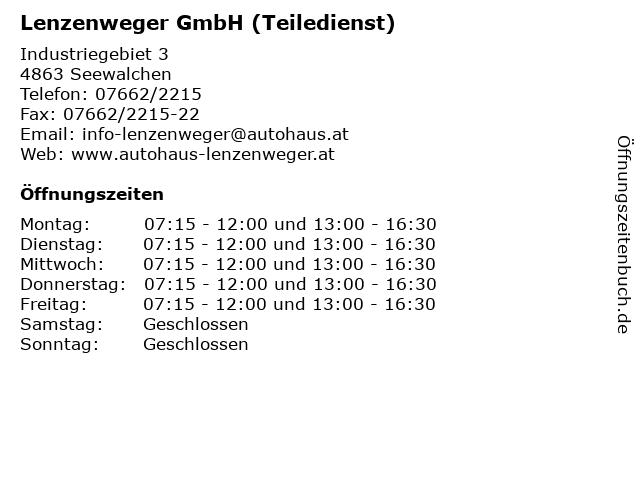 Lenzenweger GmbH (Teiledienst) in Seewalchen: Adresse und Öffnungszeiten