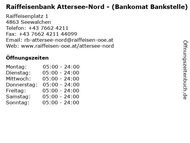 Raiffeisenbank Attersee-Nord - (Bankomat Bankstelle) in Seewalchen: Adresse und Öffnungszeiten