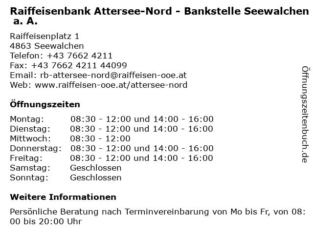 Raiffeisenbank Attersee-Nord - Bankstelle Seewalchen a. A. in Seewalchen: Adresse und Öffnungszeiten