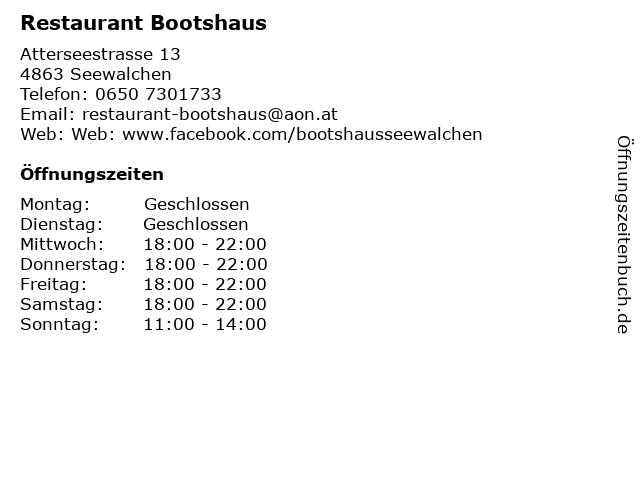 Restaurant Bootshaus in Seewalchen: Adresse und Öffnungszeiten