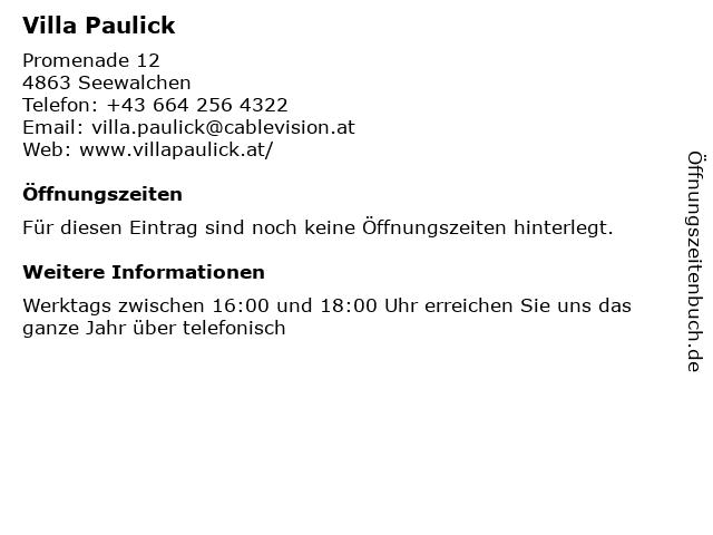 Villa Paulick in Seewalchen: Adresse und Öffnungszeiten