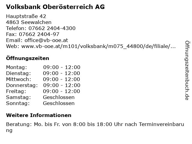 Volksbank Oberösterreich AG in Seewalchen: Adresse und Öffnungszeiten