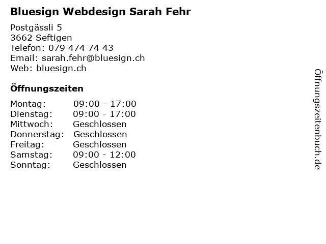 Bluesign Webdesign Sarah Fehr in Seftigen: Adresse und Öffnungszeiten