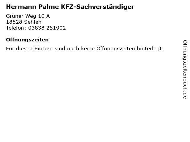 Hermann Palme KFZ-Sachverständiger in Sehlen: Adresse und Öffnungszeiten