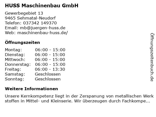 Huss Maschinenbau GmbH in Sehmatal-Neudorf: Adresse und Öffnungszeiten