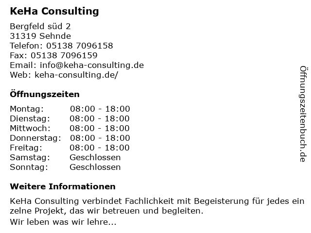 KeHa Consulting in Sehnde: Adresse und Öffnungszeiten
