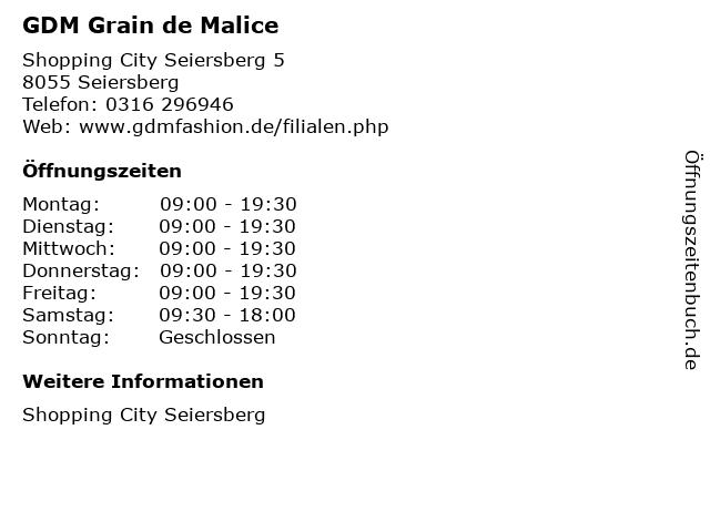 GDM Grain de Malice in Seiersberg: Adresse und Öffnungszeiten