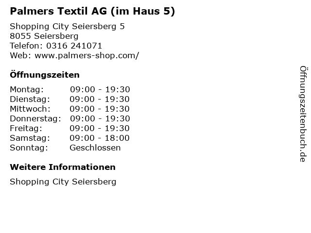 Palmers Textil AG (im Haus 5) in Seiersberg: Adresse und Öffnungszeiten