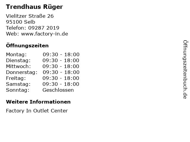 Trendhaus Rüger in Selb: Adresse und Öffnungszeiten