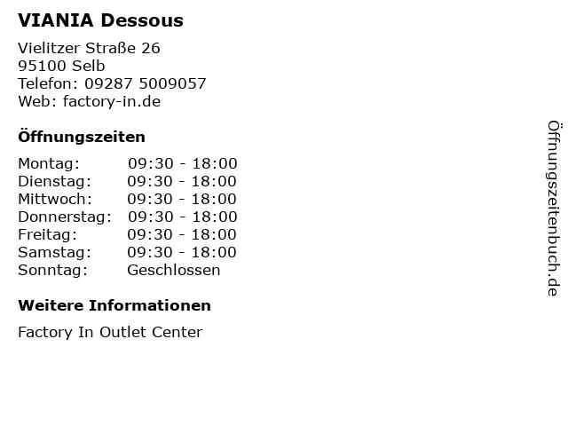 VIANIA Dessous in Selb: Adresse und Öffnungszeiten