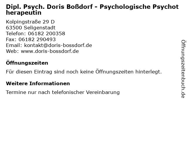 Dipl. Psych. Doris Boßdorf - Psychologische Psychotherapeutin in Seligenstadt: Adresse und Öffnungszeiten