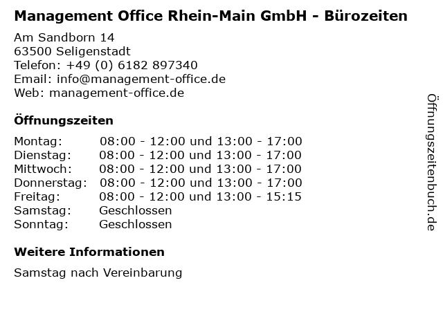 Management Office Rhein-Main GmbH - Bürozeiten in Seligenstadt: Adresse und Öffnungszeiten
