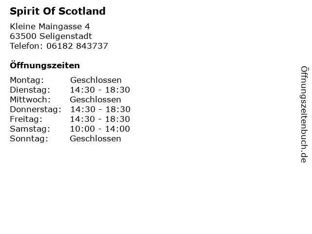 Spirit Of Scotland in Seligenstadt: Adresse und Öffnungszeiten