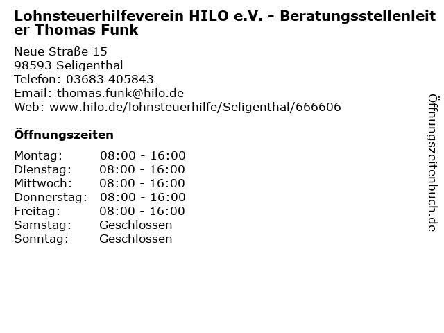 Lohnsteuerhilfeverein HILO e.V. - Beratungsstellenleiter Thomas Funk in Seligenthal: Adresse und Öffnungszeiten