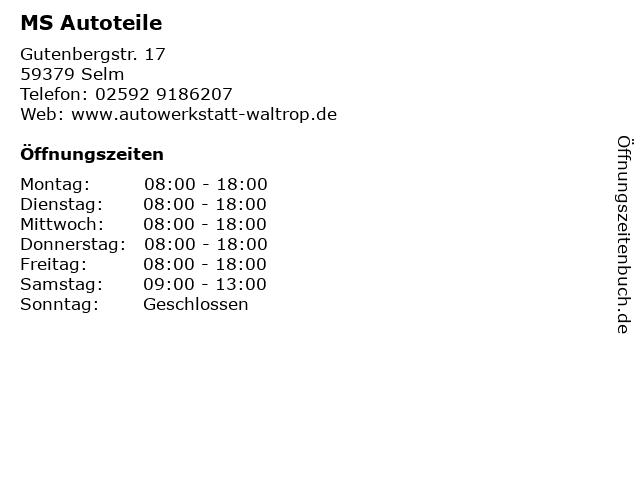 ᐅ öffnungszeiten Ms Autoteile Gutenbergstr 17 In Selm