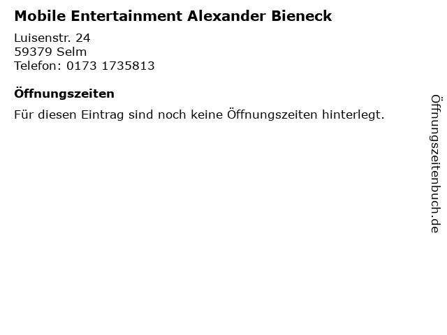 Mobile Entertainment Alexander Bieneck in Selm: Adresse und Öffnungszeiten