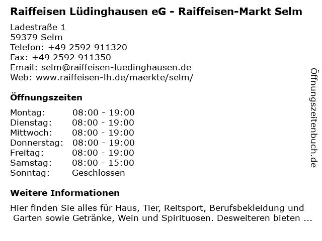 Raiffeisen Lüdinghausen eG - Raiffeisen-Markt Selm in Selm: Adresse und Öffnungszeiten