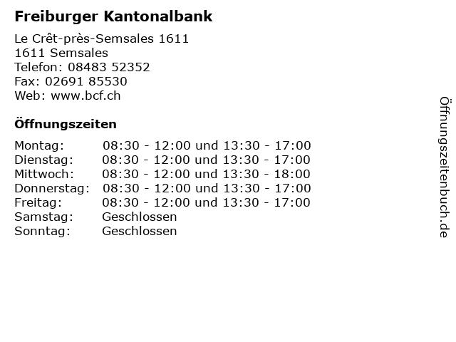 Freiburger Kantonalbank in Semsales: Adresse und Öffnungszeiten