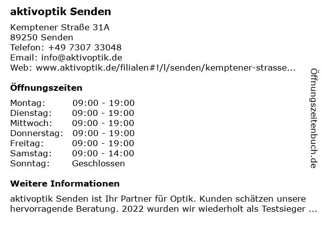 Aktiv Optik in Senden: Adresse und Öffnungszeiten