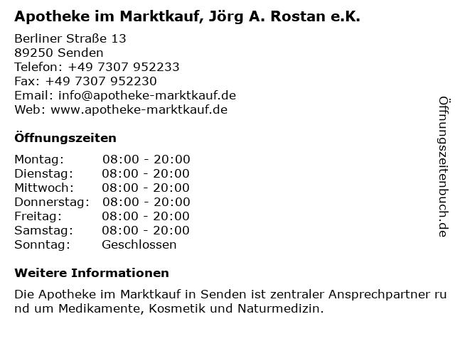 Apotheke im Marktkauf, Jörg A. Rostan e.K. in Senden: Adresse und Öffnungszeiten