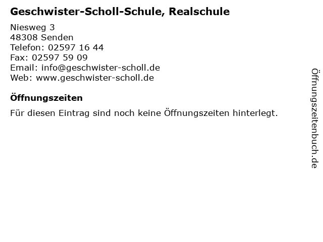 Geschwister-Scholl-Schule, Realschule in Senden: Adresse und Öffnungszeiten