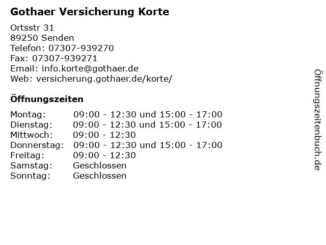 Gothaer Versicherung Korte in Senden: Adresse und Öffnungszeiten