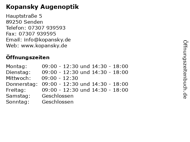 Kopansky Augenoptik in Senden: Adresse und Öffnungszeiten