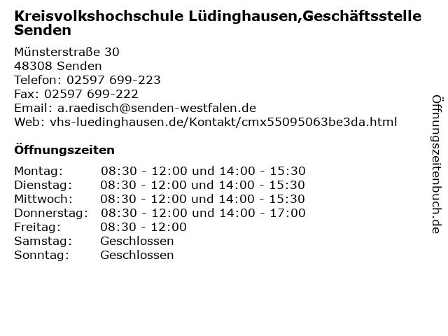 Kreisvolkshochschule Lüdinghausen,Geschäftsstelle Senden in Senden: Adresse und Öffnungszeiten