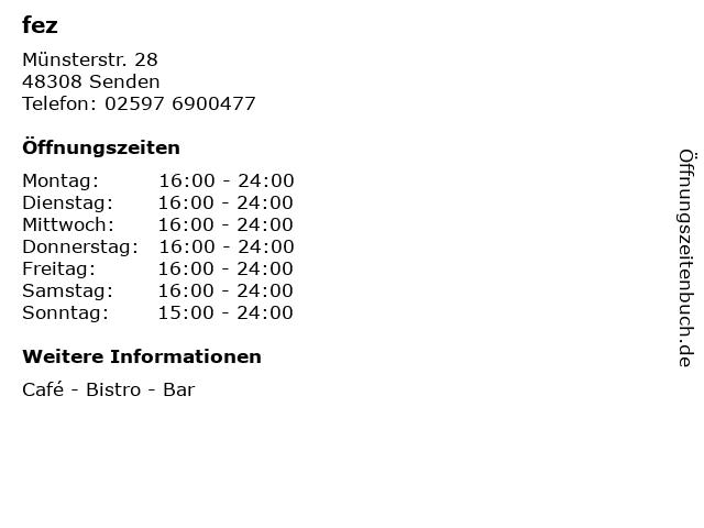 fez in Senden: Adresse und Öffnungszeiten