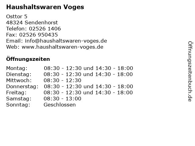 Haushaltswaren Voges in Sendenhorst: Adresse und Öffnungszeiten