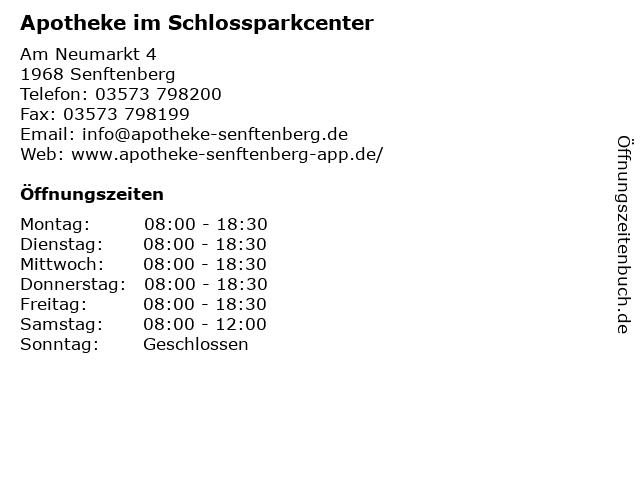 Apotheke im Schlossparkcenter in Senftenberg: Adresse und Öffnungszeiten