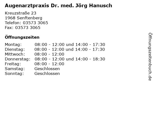Augenarztpraxis Dr. med. Jörg Hanusch in Senftenberg: Adresse und Öffnungszeiten