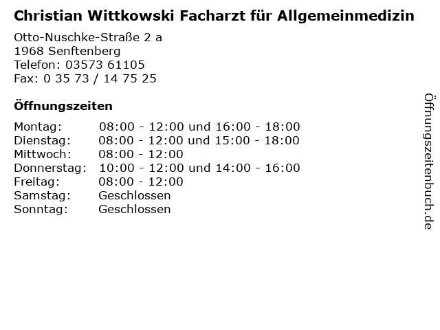 Christian Wittkowski Facharzt für Allgemeinmedizin in Senftenberg: Adresse und Öffnungszeiten