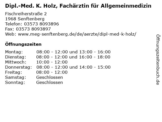 Dipl.-Med. K. Holz, Fachärztin für Allgemeinmedizin in Senftenberg: Adresse und Öffnungszeiten