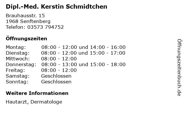 Dipl.-Med. Kerstin Schmidtchen in Senftenberg: Adresse und Öffnungszeiten