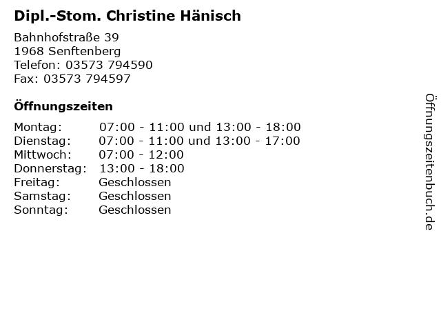 Dipl.-Stom. Christine Hänisch in Senftenberg: Adresse und Öffnungszeiten