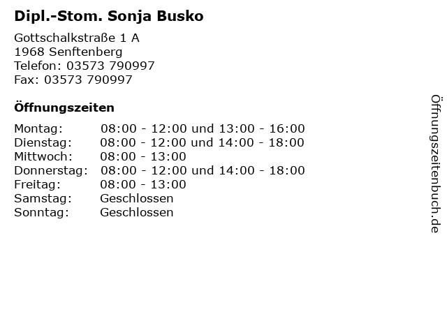 Dipl.-Stom. Sonja Busko in Senftenberg: Adresse und Öffnungszeiten
