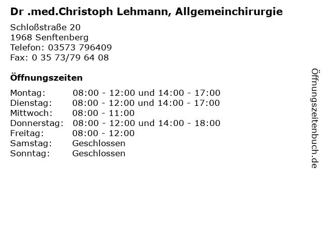 Dr .med.Christoph Lehmann, Allgemeinchirurgie in Senftenberg: Adresse und Öffnungszeiten