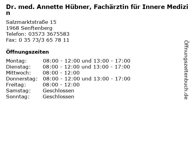 Dr. med. Annette Hübner, Fachärztin für Innere Medizin in Senftenberg: Adresse und Öffnungszeiten