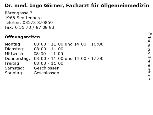 Dr. med. Ingo Görner, Facharzt für Allgemeinmedizin in Senftenberg: Adresse und Öffnungszeiten