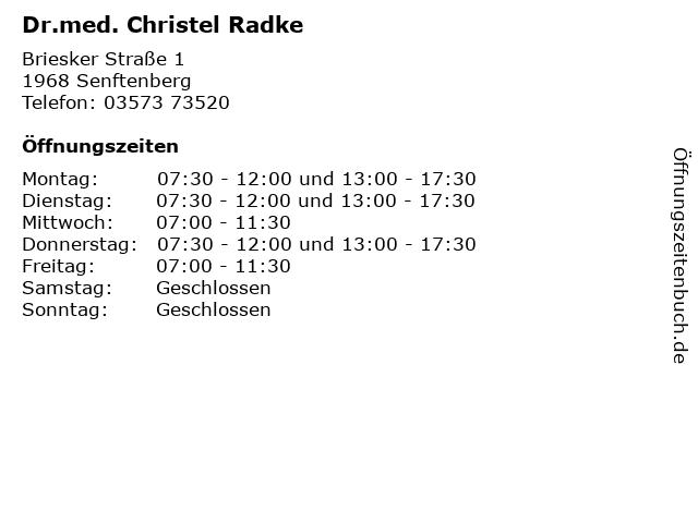 Dr.med. Christel Radke in Senftenberg: Adresse und Öffnungszeiten