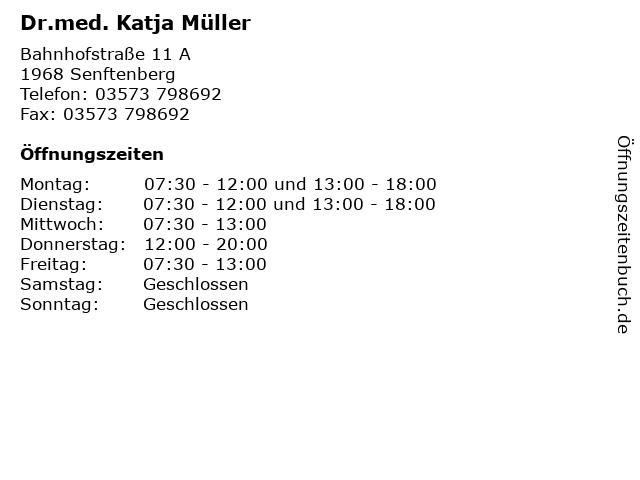 Dr.med. Katja Müller in Senftenberg: Adresse und Öffnungszeiten