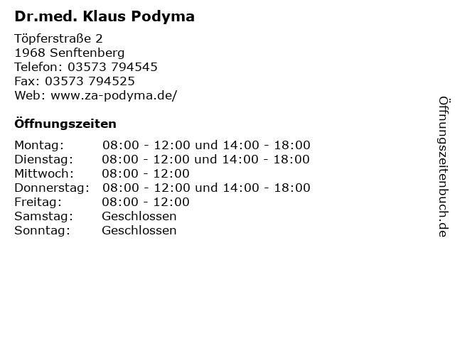 Dr.med. Klaus Podyma in Senftenberg: Adresse und Öffnungszeiten